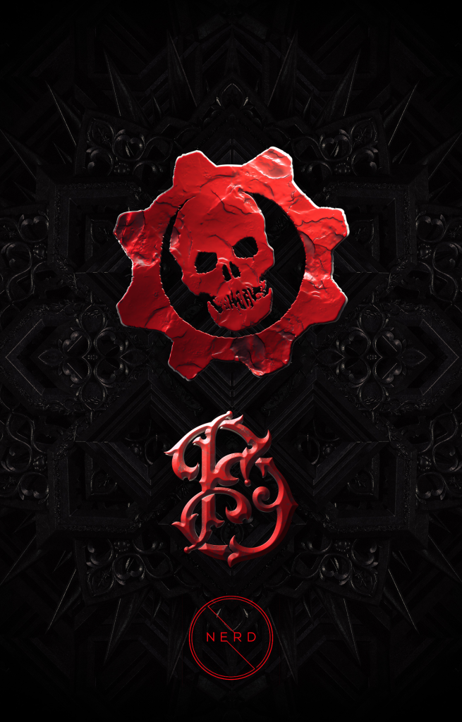 Billelis' own personal artwork, designed for the tease of the launch, with the Gears of War logo, the NERD logo and Billelis' logo.