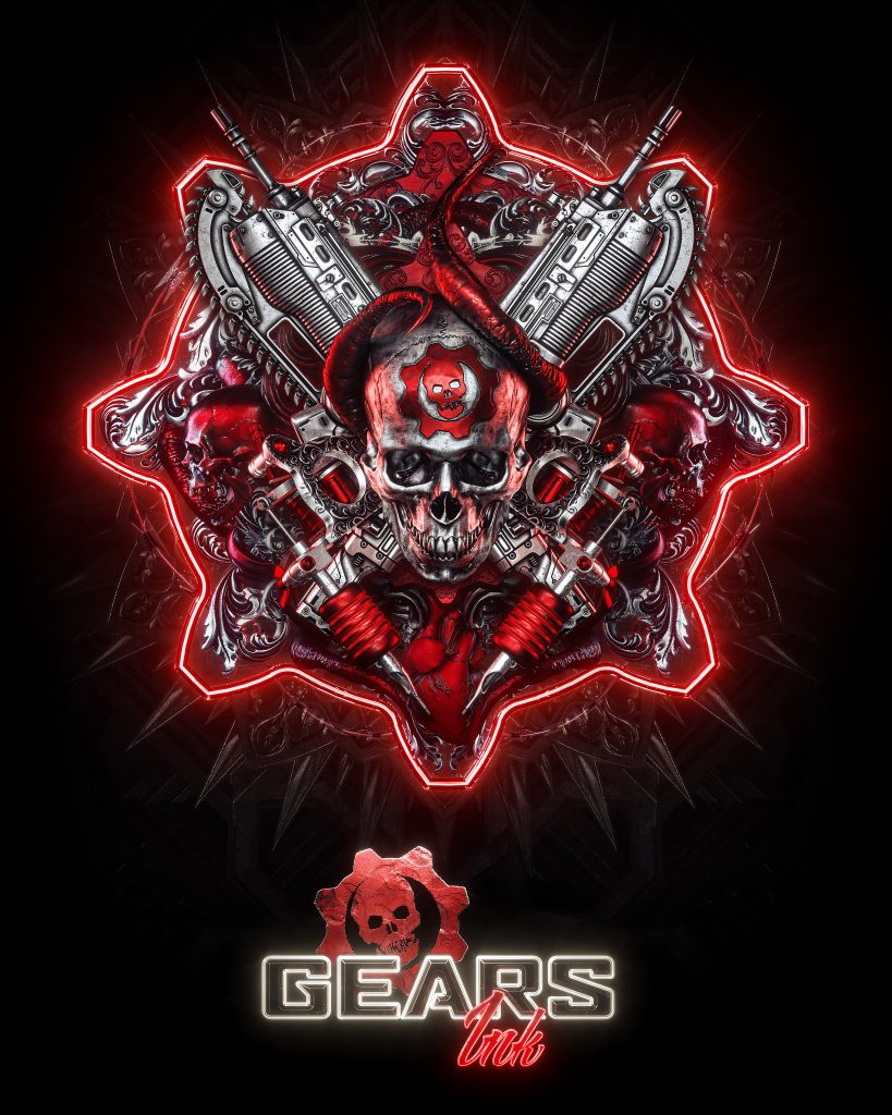 The official Gears Ink branding poster for the franchise Gears of War.