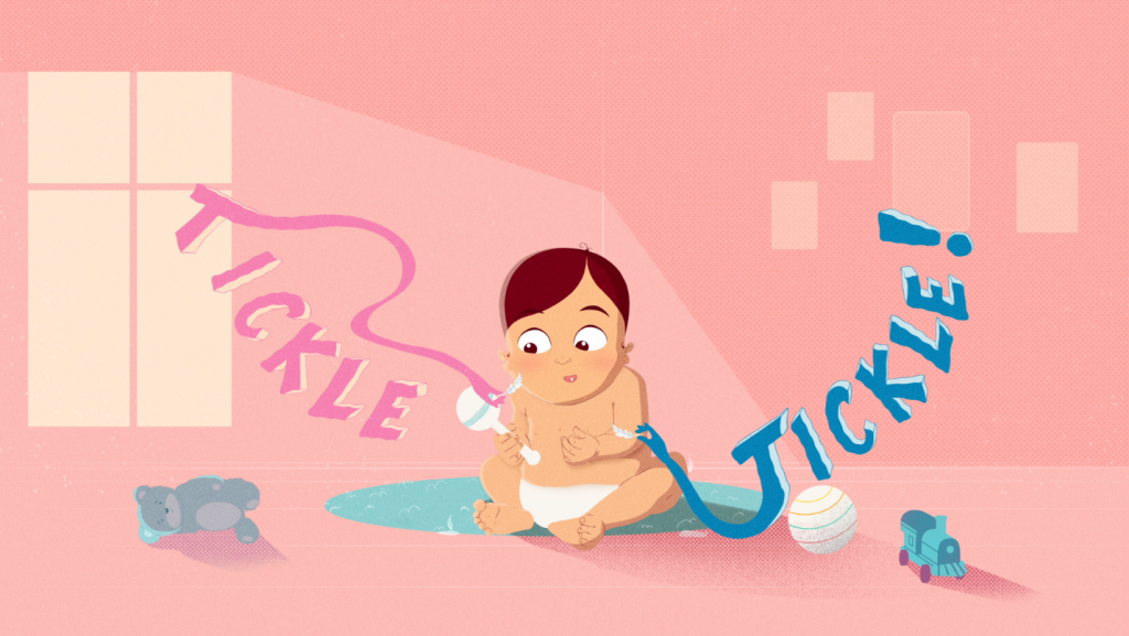Animation director Corinne Ladeinde illustrated and animated the 20 second online commercial, with the main focus being the hero baby who is here surrounded by two words 'tickle tickle' and toys. Their expression looks intrigued and playful.