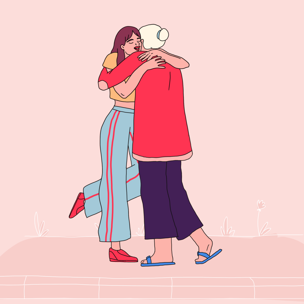 Two people hugging